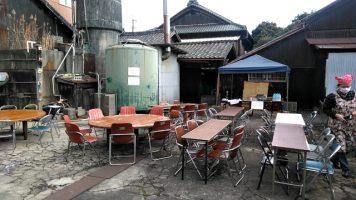 酒蔵見学会開場前の飲食スペース